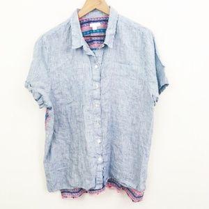 J.Jill Linen Stripe Printed Button Up Shirt XL